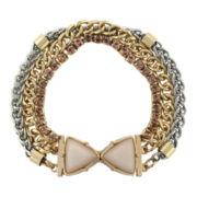 nicole by Nicole Miller® Two-Tone Bracelet w/ White & Peach Stones