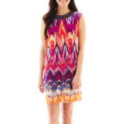 Studio 1® Cap-Sleeve Beaded Shift Dress - Petite