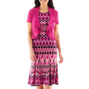 Danny & Nicole® Print Dress with Wave Jacket - Petite