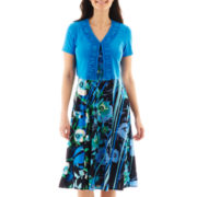 Danny & Nicole® Print Dress with Ruffled Jacket - Petite