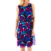 Liz Claiborne® Sleeveless Belted Print Fit-and-Flare Dress