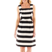 Liz Claiborne Sleeveless Striped Fit-and-Flare Dress