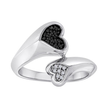 jcpenney.com | 1/10 CT. T.W. White & Color-Enhanced Black Diamond Double Heart Ring