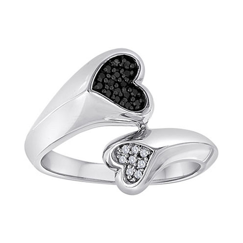 1/10 CT. T.W. White & Color-Enhanced Black Diamond Double Heart Ring