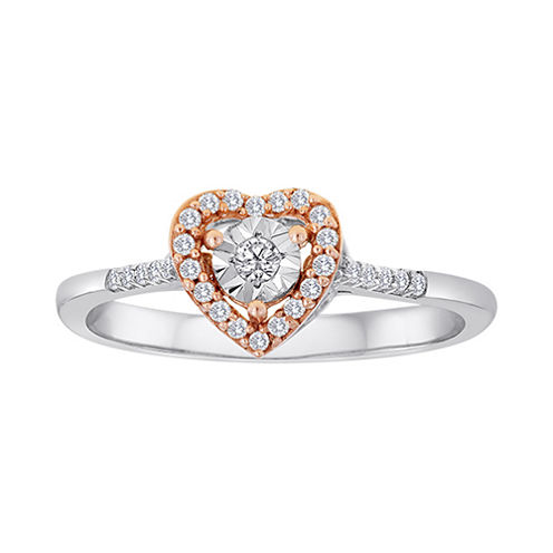 1/8 CT. T.W. Diamond Two-Tone Heart Ring