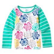 Okie Dokie® Long-Sleeve Mixed Print Tee - Girls 12m- 24m