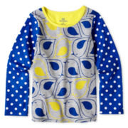 Okie Dokie® Long-Sleeve Mixed Print Tee - Girls 2y-6y