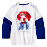 Okie Dokie® Long-Sleeve Graphic Layered Tee – Boys 12m-24m