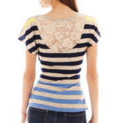 by&by Short-Sleeve Lace-Back Top