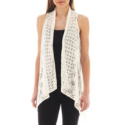 Take Out Open-Front Pointelle Vest