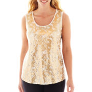 Worthington® Sleeveless Lace and Sequin Top - Plus