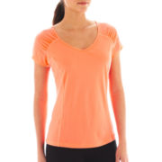 Xersion™ Shirred V-Neck Mesh Tee