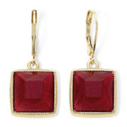 Monet® Red Stone Square Earrings