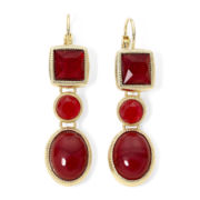 Monet® Red Stone Linear Earrings
