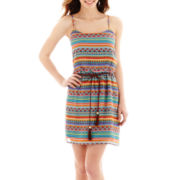 City Triangles® Sleeveless Aztec Chiffon Belted Dress