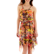 City Triangles® Sleeveless Floral Print Chiffon Necklace-Trim Dress