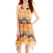 City Triangles® Sleeveless Batik Chiffon Necklace-Trim Blouson Dress