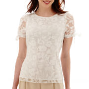 Worthington® Short-Sleeve Burnout Blouse