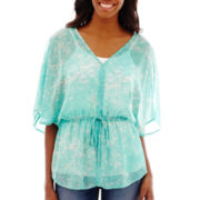 a.n.a® Elbow-Sleeve Cinched Waist V-Neck Peasant Top