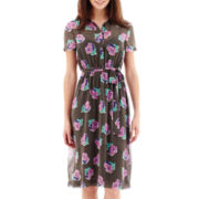 I 'Heart' Ronson® Short-Sleeve Belted Floral Dot Print Shirtdress with Cami