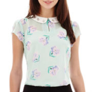 I 'Heart' Ronson® Short-Sleeve Embellished-Collar Print Top