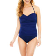 Liz Claiborne® Twist Bandeau One-Piece Swimsuit