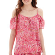 Decree® Short-Sleeve Cold-Shoulder Crochet Top