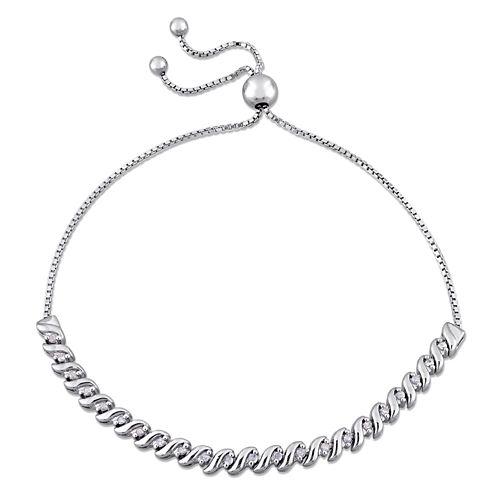 Womens White Diamond Sterling Silver Bolo Bracelet