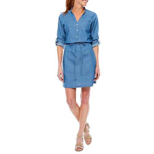Sag Harbor Denim And Chambray 3/4 Sleeve Shirt Dress