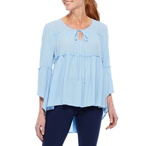 Sag Harbor Denim And Chambray 3/4 Sleeve Crew Neck Woven Blouse