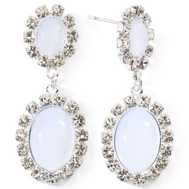 jcpenney.com | Vieste White Stone & Crystal Drop Earrings