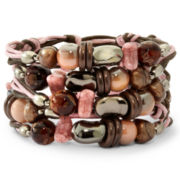 Aris by Treska Pink & Black 5-Row Beaded Bracelet