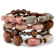 Aris by Treska Pink & Brown Beaded Coil Wrap Bracelet