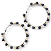 Aris by Treska® Black & White Beaded Hoop Earrings