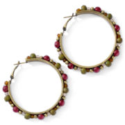 Aris by Treska Purple Beaded Hoop Earrings