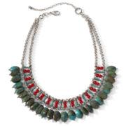 Aris by Treska Green & Red Beaded Bib Necklace