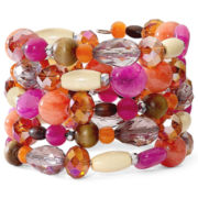 Warm-Color Beaded Coil Bracelet