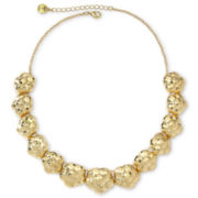 Monet® Gold-Tone Hammered Flower Necklace