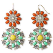 Liz Claiborne Multicolor Flower Drop Earrings