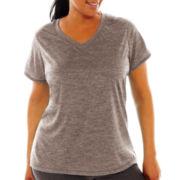 Xersion™ Short-Sleeve V-Neck Melange Tee - Plus
