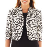 Black Label by Evan-Picone Stand-Collar Print Jacket