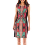 Ronnie Nicole Cap-Sleeve Print Dress
