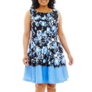 Danny & Nicole® Sleeveless Floral Fit-and-Flare Dress - Plus