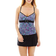 Beach Native® Dot Print Grommet Tankini Swim Top or Skirted Bottoms