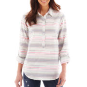 Liz Claiborne Long-Sleeve Striped Shirt