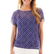 Liz Claiborne Sleeveless Henley Top