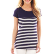 Liz Claiborne Short-Sleeve Striped Tunic Top