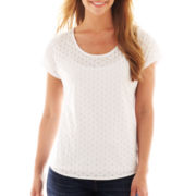 Liz Claiborne Short-Sleeve Dot Burnout Tee