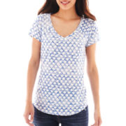 Liz Claiborne Short-Sleeve Diamond Tee
