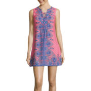 Love Reigns Sleeveless Print Lace-Up Chiffon A-Line Dress- Juniors